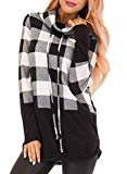 Actloe  Actloe Women Cowl Neck Plaid Long Sleeve Pullover Tops Casual Tunic Sweatshirt