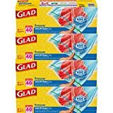Glad Zipper Food Storage Freezer Bags - Gallon - 40 Count - 4 Pack   by Glad