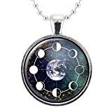 Moon Phase And Planet Earth Galaxy Handmade Pendant Necklace
