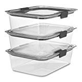 Rubbermaid Brilliance Food Storage Container, Large, 9.6 Cup, Clear, 3 Pack  byRubbermaid