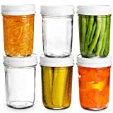 Glass Mason Jars Full Mouth - 8 Ounce - (6 Pack) Glass Jars with Metal Airtight Lids Perfect Meal Prep, Food Storage, Canning, Drinking Jars, for Jelly, Jam, Dry Food, Spices, Herbs, Salads, Yogurt,  by Paksh Novelty
