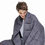 ZonLi Adults Weighted Blanket 20 lbs(60''x80'', Grey, Queen Size), Cooling Weighted Blanket for Adult, 100% Cotton Material with Glass Beads  by ZonLi