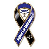 Support Law Enforcement Blue/Black Large Ribbon Magnet