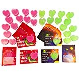 Slime Valentines Day Cards for Kids Classroom, 30 Cards with Heart Shaped Slime  by Hapinest