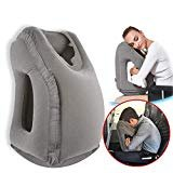 Povinmos Travel Pillow Sleep Aid, Premium Comfortable Inflatable Portable Head Neck Rest Pillow, Design for Airplanes, Cars, Buses, Trains, Office Napping, Outdoor Camping -Gray  by Povinmos