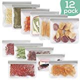 SPLF 12 Pack FDA Grade Reusable Storage Bags (6 Reusable Sandwich Bags, 6 Reusable Snack Bags), Extra Thick Leakproof Silicone and Plastic Free Ziplock Lunch Bags Food Storage Freezer Safe  by SPLF
