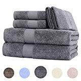 Wonwo 100% Cotton Bath Towels, 600 GSM Luxury 6 Piece Set - 2 Bath Towels, 2 Hand Towels, and 2 Washcloths - Gray  byWonwo