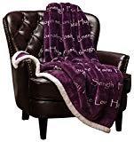 Chanasya Warm Hugs Positive Energy Healing Thoughts Caring Gift Throw Blanket - Sherpa Microfiber Comfort Gift Throw - Get Well Soon Gift for Women Men Cancer Patient - Aubergine Blanket  byChanasya