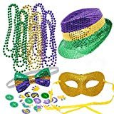JOYIN Mardi Gras Accessory Set Party Favors with Beads Necklaces, Sequin Fedora Hat, Masquerade Mardi Gras Mask, Sequin Bow Tie. 24 Temporary Tattoos, 3 Pendants  by JOYIN