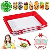Creative Stackable Food Preservation Tray JOYXEON Vacuum Preservation Tray with Elastic Lid for Vegetable Fruit Meat Fish Snack,Reusable,Dishwasher,Microwave and Freezer Safe,BPA free+ 2x Dish Towels  byJOYXEON