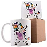 Dabbing Unicorn PRIDE Personalized Coffee Mugs - 11oz Ceramic Mug with Matching Coaster and Gift Box- Birthday Gifts, Mother's Day Gifts, Father's Day Gifts, Christmas Gifts  by USA Custom Gifts