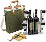 HappyPicnic Wax Canvas 3 Bottle Wine Carrier, EVA Molded Beverage Cooler Bag for Travel, Champagne Drink Carrying Tote with 4 Glasses, Wine Opener & Stopper, Bamboo Cheese Board and Knife Set as Gift  byHappyPicnic