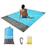 GIVERARE Sandfree Beach Blanket, Waterproof Picnic Blanket, Quick Drying Indoor&Outdoor Family Mat with 4 Stakes&4 Corner Pockets for Travel, Camping, Hiking, Music Festival  by GIVERARE