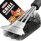 """Grill Brush and Scraper - Extra Strong BBQ Cleaner Accessories - Safe Wire Bristles 18""""Stainless Steel Barbecue Triple Scrubber Cleaning Brush for Weber Gas/Charcoal Grilling Grates, Best wizard tool  Visit the GRILLART Store"""