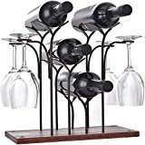 DCIGNA Freestanding Metal Wine Rack With Glass Holder, Wood Tabletop Wine Rack Metal, Wine Glass Holder Rack, Hold 4 Wine Bottles and 4 Wine Glasses, Suitable For Perfect for Home Decor, Bar, Wine Cel  byDCIGNA