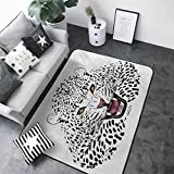 "Door Mat Living Room Non-Slip Safari,Leopard Illustration Predator Angry Silhouette Endangered Species Golden Eyes,Black White Amber 36""x 60"" Rugs  byKaMiao"