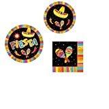 "Fiesta Fun Party Pack (16 Fiesta Luncheon Napkins, 8 7"" Fiesta Fun Plates, 8 10"" Fiesta Fun Plates)  byamscan"