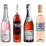 Rose Wine Sampler - Four (4) Non-Alcoholic Wines 750ml Each - Pierre Chavin Perle Rose, Elivo Cardio Zero Rose, Tautila Espumoso Rosado, and Le Petit Chavin Rose.  by Various Wineries