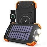 Solar Power Bank, Qi Portable Charger 10,000mAh External Battery Pack Type C Input Port Dual Flashlight, Compass (IPX4 Splashproof, Dustproof, Shockproof, Solar Panel Charging, DC5V/2.1A Input)  byBLAVOR