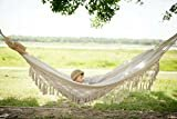 """RISEON Handmade Boho Large Brazilian Macrame Fringe 2 Person Double Deluxe Hammock Swing Net Chair for Beach, Yard, Bedroom, Patio, Porch, Indoor, Outdoor, Wedding Decor 95"""" Lx 59"""" W  byRISEON"""