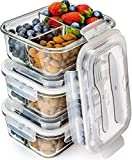 Prep Naturals Glass Meal Prep Containers 3 Compartment - Bento Box Containers Glass Food Storage Containers with Lids - Food Containers Food Prep Containers Glass Storage Containers with Lids 3 Pack  byPrep Naturals
