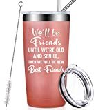 We Will Be Friends Until We Are Old And Senile, Funny Best Friend Friendship Gifts for Women, Men, Coworker, Roommate, BFF, Stainless Steel Tumbler Cup with Lid and Straw Birthday Gifts  byFufandi