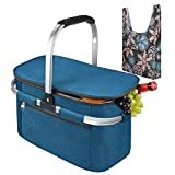 Tirrinia Large Insulated Picnic Basket, 26L Leakproof Collapsible Portable Cooler Basket Set with Aluminium Handle for Travel, Shopping, Camping, Attach with a Free Foldable Grocery Bag, Blue  byTirrinia
