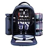 apollo walker Picnic Backpack Bag for 2 Person with Cooler Compartment, Detachable Bottle/Wine Holder, Fleece Blanket, Plates and Cutlery (Blue)  byapollo walker