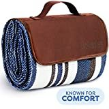 Extra Large Picnic & Outdoor Blanket Dual Layers for Outdoor Water-Resistant Handy Mat Tote Spring Summer Blue and White Striped Great for The Beach,Camping on Grass Waterproof Sandproof (SC-CM-01)  byScuddles