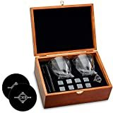 Whiskey Stones and Whiskey Glass Gift Boxed Set, 8 Granite Chilling Whisky Rocks, 2 Glasses in Wooden Box, Great Gift for Father's Day, Dad's Birthday or Anytime For Dad, Plus 2 Free Coasters  byCool Stones