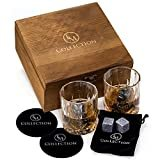 Whiskey Stones Gift Set w/ 8 Granite Whiskey Rocks,2 Crystal Whiskey Glasses & Velvet Bag by EMcollection Reusable Cooling Ice Cubes Chill Your Scotch & Cold Drinks Packed in Elegant Wooden Box  byEMCOLLECTION