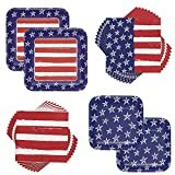 Patriotic 4th of July Stars & Stripes Festive Flag Plates & Napkins Party Supplies Bundle for 16 Guests  by Magic Meter LLC