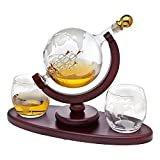 Whiskey Decanter Globe Set with 2 Etched Globe Whisky Glasses - for Liquor, Scotch, Bourbon, Vodka - 850ml  byGodinger