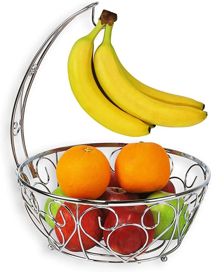 SimpleHouseware Fruit Basket Bowl with Banana Tree Hanger, Chrome Finish  bySimple Houseware