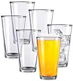 Clear Glass Beer Cups – 6 Pack – All Purpose Drinking Tumblers, 16 oz – Elegant Design for Home and Kitchen – Great for Restaurants, Bars, Parties – by Kitchen Lux  byKitchen Lux